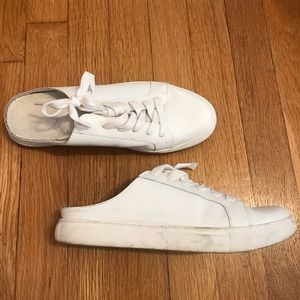 Backless white leather sneakers